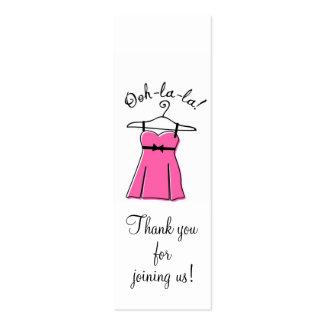 Tag cor-de-rosa do presente do chá da lingerie cartão de visita skinny