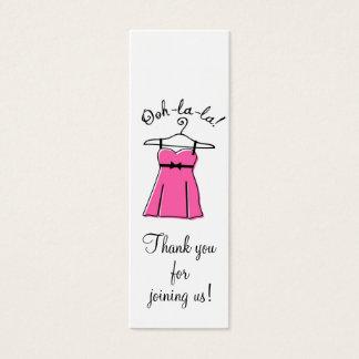 Tag cor-de-rosa do presente do chá da lingerie cartão de visitas mini