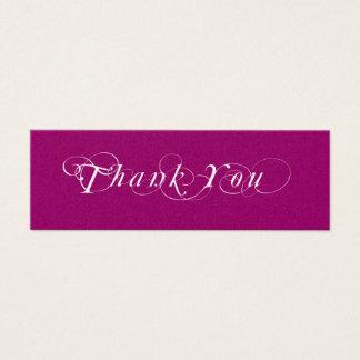 Tag cor-de-rosa e branco do presente do favor do cartão de visitas mini