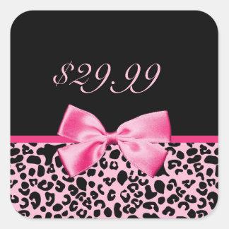Tag cor-de-rosa e pretos na moda das vendas do adesivo quadrado