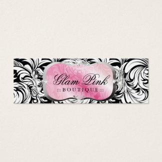 Tag cor-de-rosa pródigo do cair da prata da cartão de visitas mini