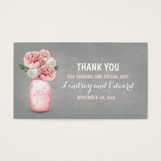 Tag cor-de-rosa rústico do favor do casamento do cartão de visitas