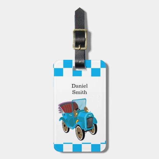 Tag customizável da escola do carro dos desenhos a tag para bagagem