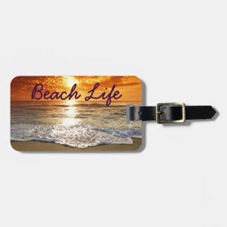 Tag da bagagem da vida da praia etiqueta de bagagem