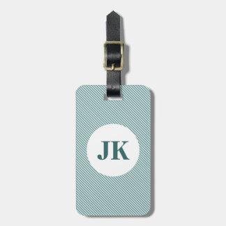 Tag da bagagem das riscas com monograma personaliz etiqueta de mala