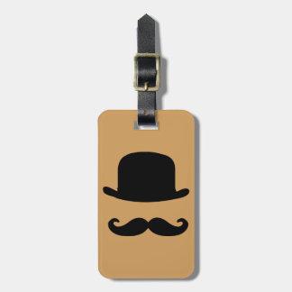 Tag da bagagem do bigode e do chapéu alto etiqueta de bagagem