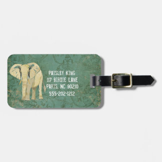 Tag da bagagem do elefante branco etiqueta de mala