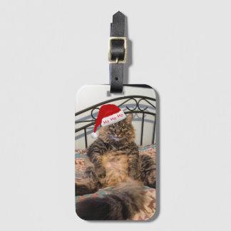 Tag da bagagem do gato do papai noel etiqueta de bagagem
