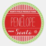 Tag da etiqueta do Natal das produções do Pólo Adesivo Redondo