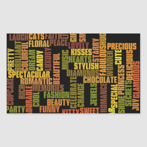 Tag das meninas, palavras femininos adesivo em forma retangular
