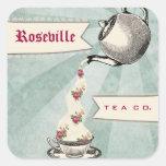 Tag de derramamento do presente do teacup dos adesivos quadrados