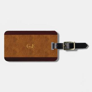 Tag de madeira da bagagem do couro do monograma do tag de mala