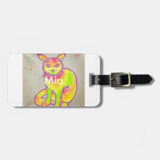 Tag de néon pintado mão da bagagem do gato etiqueta de bagagem