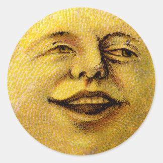 Tag de sorriso do favor da lua do vintage adesivo redondo