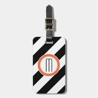 Tag diagonal da bagagem do monograma da listra - c tags de mala