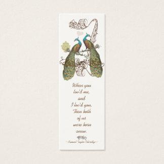 Tag do casamento do pavão do pássaro do vintage cartão de visitas mini