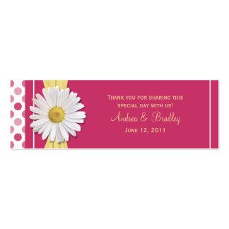 Tag do favor do casamento da margarida cor-de-rosa cartão de visita skinny