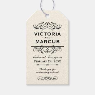 Tag do favor do monograma da garrafa de vinho do etiqueta para presente
