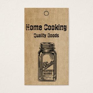 Tag do frasco de pedreiro do estilo do vintage de cartão de visitas