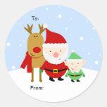 Tag do Natal do papai noel, do Rudolph e do Adesivos Redondos