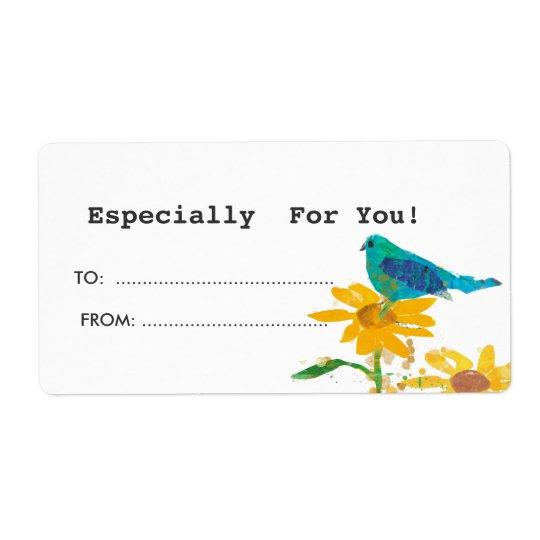 Tag do presente com pássaro azul etiqueta de frete