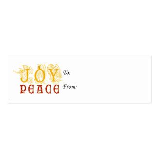 Tag do presente da alegria e da paz cartão de visita skinny