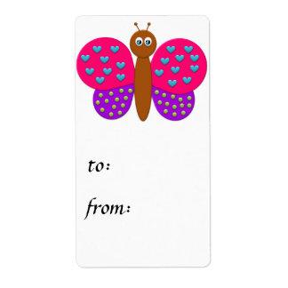 Tag do presente da borboleta da fantasia do bombom etiqueta de frete