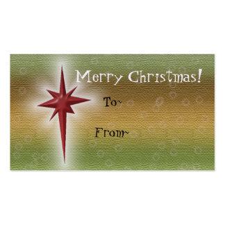 Tag do presente da estrela do feriado cartão de visita