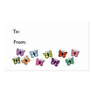 Tag do presente da fileira da borboleta cartão de visita