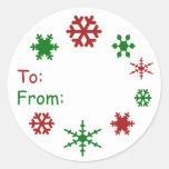 Tag do presente de época natalícia do floco de adesivo em formato redondo
