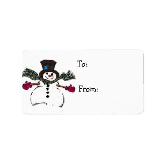 Tag do presente do boneco de neve para presentes etiqueta de endereço