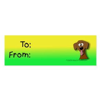 Tag do presente do cão amarelo e verde modelo cartão de visita