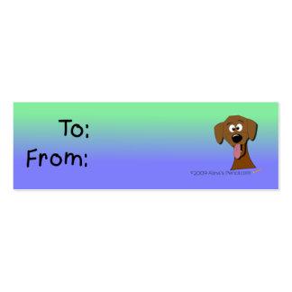 Tag do presente do cão verde e azul modelo de cartões de visita