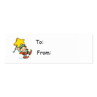 Tag do presente do duende dos desenhos animados cartões de visita