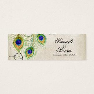 Tag do presente do favor - penas do pavão que cartão de visitas mini