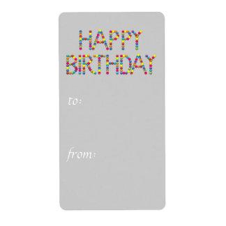 Tag do presente do feliz aniversario do arco-íris etiqueta de frete