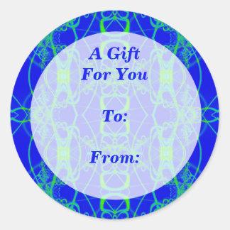 Tag do presente do laço do verde azul adesivo em formato redondo