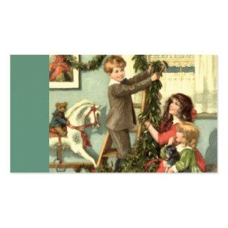 Tag do presente do Natal das crianças do Victorian Cartão De Visita