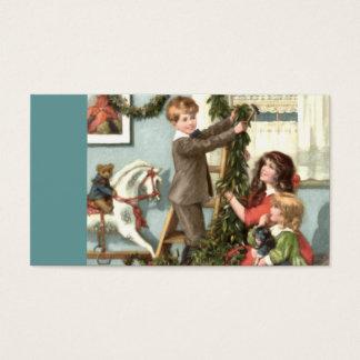 Tag do presente do Natal das crianças do Victorian Cartão De Visitas