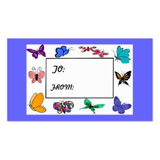TAG do PRESENTE do quadro da borboleta Cartão De Visita