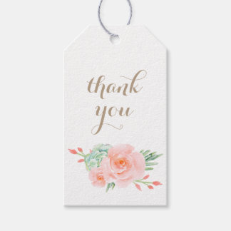 Tag do presente dos rosas do pêssego do succulent