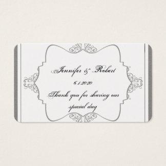 Tag fino filigrana cinzento do favor do casamento cartão de visitas