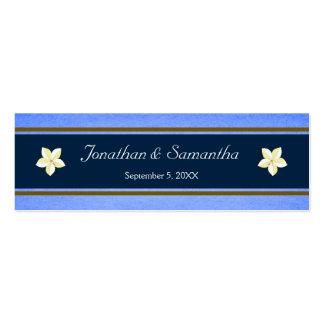Tag florais azuis rústicos do favor do favor do cartão de visita skinny