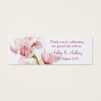 Tag florais do favor do casamento da orquídea cartão de visitas mini