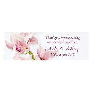 Tag florais do favor do casamento da orquídea cor- cartão de visita