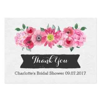 Tag florais do favor do chá de panela da aguarela cartão de visita grande