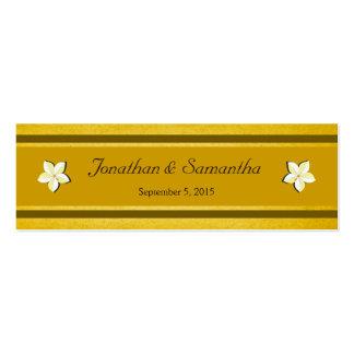 Tag florais do favor do favor do casamento do ouro cartão de visita skinny