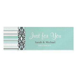Tag listrado azul e branco do presente do favor do cartao de visita