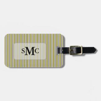 Tag listrado preto branco verde da bagagem etiqueta de bagagem