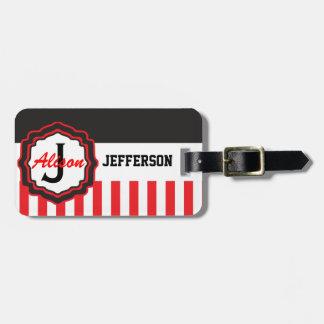 Tag listrado vermelho personalizado do saco tag de mala